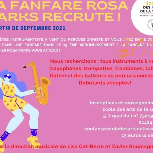 Ateliers Fanfare avec Lisa Cat Berro et cours de batterie collectif.